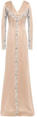 Safiyaa Draped Lace-trimmed Satin-crepe Gown