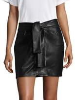 Frame Waist Tie Leather Mini Skirt