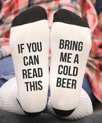 Stamp Out Online Socks white - White Small 'Bring Me a Cold Beer' Socks - Adult