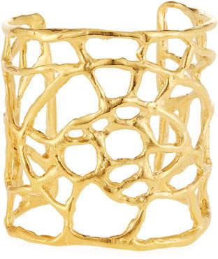Devon Leigh Golden Plated Web Cuff Bracelet