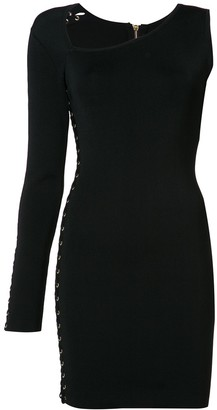 Balmain one-shoulder lace-up eyelet dress