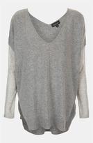 Topshop Mixed Media Drop Shoulder Sweater