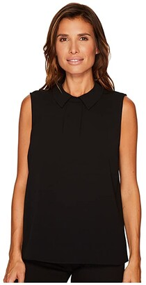 CeCe Sleeveless Textured Pleat Front Collared Blouse (Rich Black) Women's Blouse