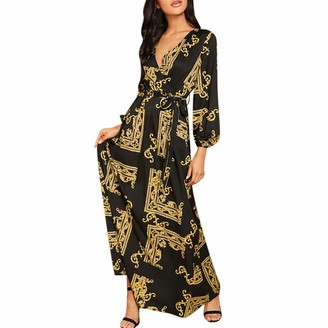 Kimodo Ccl KIMODO Fashion Women V-Neck Long Sleeve Maxi Long Dress Print Lantern Sleeve Wrap Dress Gold