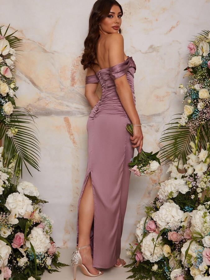 Thumbnail for your product : Chi Chi London Bardot Ruched Satin Bridesmaid Maxi Dress - Lilac