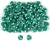 Generic Round Green Dot Lampwork Glass Beads 6mm Approx 66Pcs