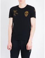 Alexander Mcqueen Skull And Floral-print Cotton-jersey T-shirt