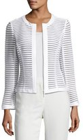 Lafayette 148 New York Catrice Textured Mesh Stripe Jacket, Plus Size, White