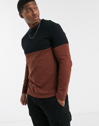 ASOS DESIGN organic long sleeve t-shirt with contrast yoke in burgundy