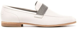 Brunello Cucinelli Bead-Embellished Leather Loafers