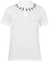 Neil Barrett Lightning-bolt print cotton-piqué polo shirt