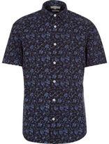River Island MensNavy floral print short sleeve slim shirt