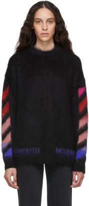 Off-White Black Brushed Mohair Diag Sweater