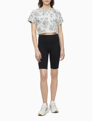 Calvin Klein Performance Logo Printed Cuffed Short Sleeve Cropped T-Shirt