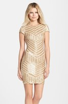 Dress the Population 'Tabitha' Sequin Stripe Mesh Minidress