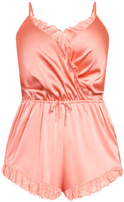 City Chic Becca Satin Teddy - melon