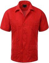 Guytalk Men's Cuban Guayabera Button-down Short Sleeve Shirt