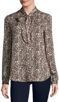 Three Dots Kathleen Tie-Neck Leopard-Print Blouse, Natural