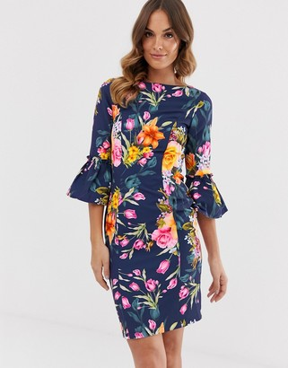 Paper Dolls 3/4 frill sleeve printed pencil midi dress