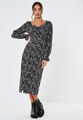 Missguided Black Floral Milkmaid A Line Midi Dress