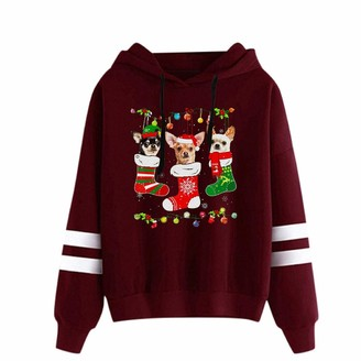 Fhuuly Women's Christmas Hoodies Dog Socke Print Pullover Funny Cute Sweatshirts Lightweight Xmas Jumper Tops with Pocket (Red M)