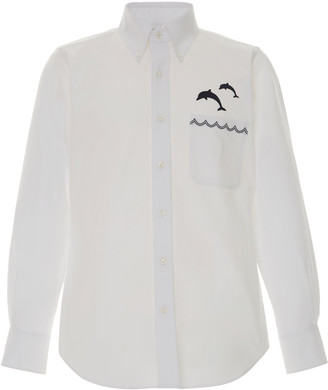 Thom Browne Embroidered Dolphin Cotton Button Down Shirt