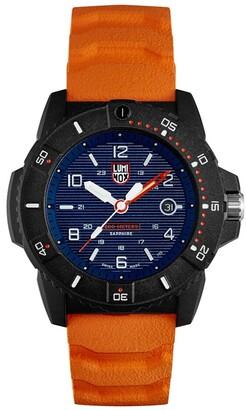 Luminox Men's XS.3603 Sea Series Black Carbonox Orange Rubber Strap Watch