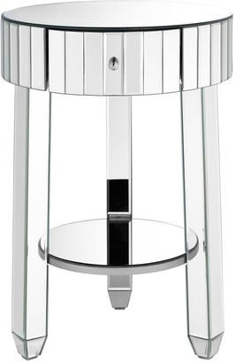 Phoebe Round Mirrored Bedside Table