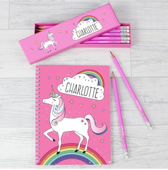 Personalised Unicorn Pink Pencils in a box and matching note book