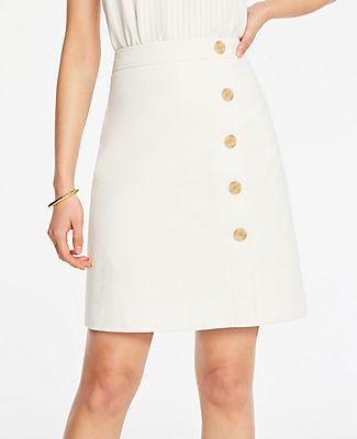 Ann Taylor Petite Textured Buttoned A-Line Skirt