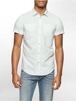 Calvin Klein Slim Fit Linen Blend Short Sleeve Shirt