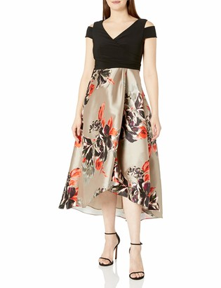 SL Fashions Women's Cold Shoulder Mikado Print Party Dress