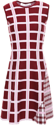 Victoria Beckham Flared Checked Wool-blend Jacquard Mini Dress
