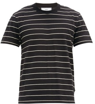 Ami Striped Cotton-jersey T-shirt - Black White