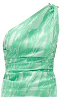 Ganni One-shoulder Satin-jacquard Top - Womens - Green