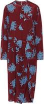 Rochas Pleated floral-print silk crepe de chine midi dress