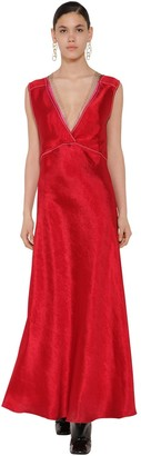 Marni Long V-Neckline Satin Dress