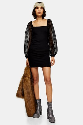 Topshop Womens Black Spot Organza Mini Dress - Black