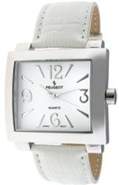 Peugeot Women's 706WT Silver-Tone White Leather Strap Watch