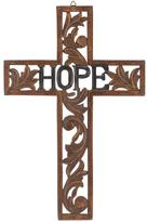 Stonebriar Collection 18 in. x 12 in. Natural Wood Hope Wall Cross