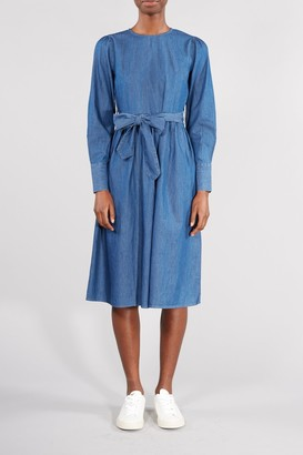 Selected BLUE ALINA TENCEL MIDI DRESS - 34