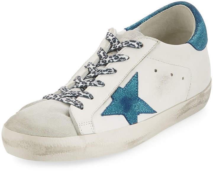 Golden Goose Metallic Lace-Up Star Sneakers