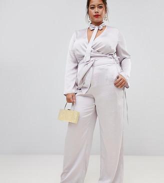 Lovedrobe wide leg satin trouser co-ord in silver