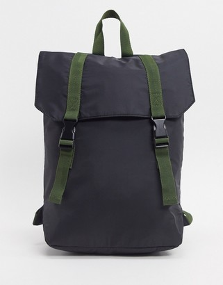 Asos DESIGN backpack in black with double straps in khaki