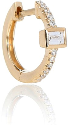 Jacquie Aiche Pave Baguette Mini Hoop 14 yellow gold single earring with diamonds