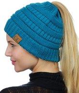 C&C C.C BeanieTail Soft Stretch Cable Knit Messy High Bun Ponytail Beanie Hat, Lt Melange Gray