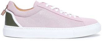 Buscemi Leather-paneled Appliqued Glittered Suede Sneakers