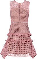Self-Portrait Crosshatch Frill Mini Dress Pink 2