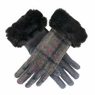 Dents Women's Abraham Moon Tweed Gloves with Faux Fur Cuffs GREY ONE