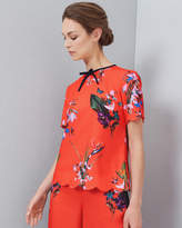 Ted Baker Tropical Oasis Bow And Scallop Detail Top Mid Red